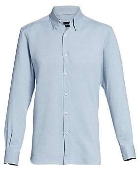 Ermenegildo Zegna Men's Three-Ply Classic-Fit Basic Cotton Dress Shirt