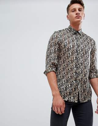 Asos DESIGN regular fit retro geo print shirt in sheer