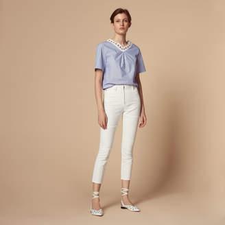 Sandro High-waisted white jeans