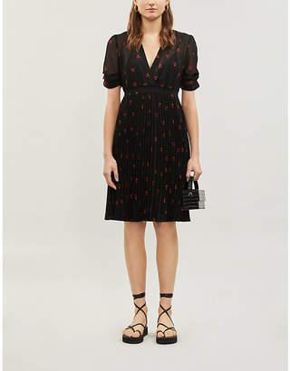 Maje Rengia heart-embroidered woven midi dress