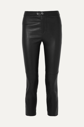 Isabel Marant Mofira Cropped Leather Skinny Pants - Black