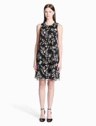 Calvin Klein embroidered chiffon trapeze dress