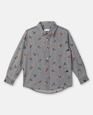 Stella McCartney Rockets Embroidery Chambray Shirt, Men's