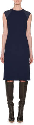 Agnona Crewneck Sleeveless Fitted Wool Crepe Dress w/ Knit Details