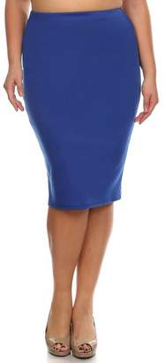 Private Label Women's Plus Solid Midi Length Pencil Skirt. Made in USA