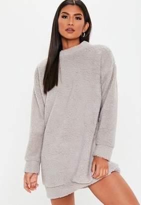 Missguided Gray Teddy Crew Neck Sweatshirt Dress