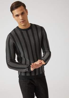 Emporio Armani Pure Virgin Wool Striped Jacquard Sweater