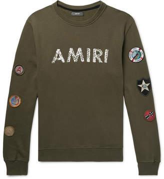 Amiri Logo-Print Appliquéd Fleece-Back Cotton-Jersey Sweatshirt