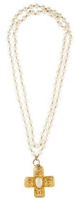 Chanel Faux Pearl Cross Pendant Necklace gold Faux Pearl Cross Pendant Necklace
