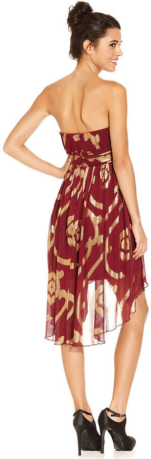 Amy Byer BCX Juniors Dress, Strapless High-Low Printed