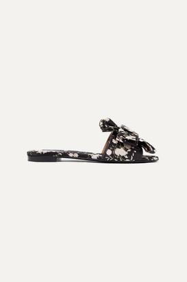 Tabitha Simmons Johanna Ortiz Camilla Bow-embellished Floral-print Satin Slides - Black