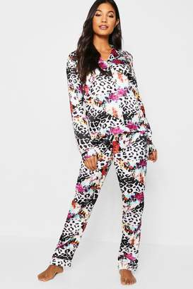 boohoo Leopard & Floral Long Sleeve PJ Set