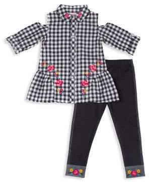 Little Lass Baby Girl's Plaid Cold Shoulder Top & Legging Sett