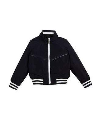 Burberry Jez Striped-Trim Bomber Jacket, Size 4-14