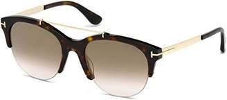 Tom Ford Adrenne FT 0517 52G Dark Havana / Brown Gradient Mirror Sunglasses