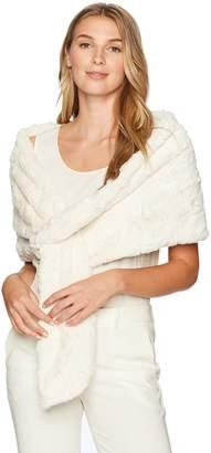 SL Fashions Women's Plus Size Pull Through Faux Fur Wrap