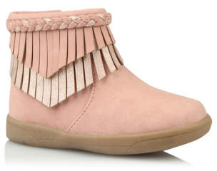 George First Walkers Pink Fringed Trim Boots