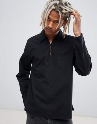 Asos DESIGN oversized overhead shirt in black