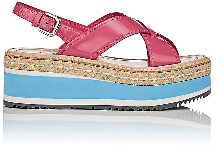 Prada Women's Leather Platform-Wedge Sandals