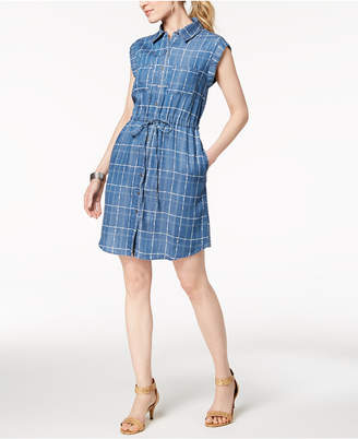 Style&Co. Style & Co Chambray Drawstring-Waist Shirtdress, Created for Macy's
