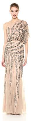 Adrianna Papell Women's One Shoulder Fully Beaded Blousson Gown