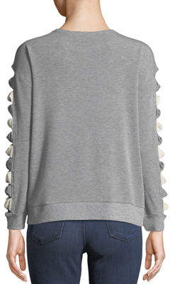 Neiman Marcus Bow-Ladder Sleeved Sweatshirt