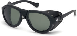 Moncler Men's Round Sunglasses w/ Leather Side Blinders