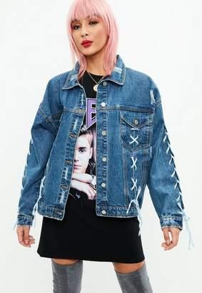 Missguided Blue Lace Up Oversized Denim Jacket