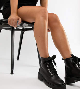 3d223e42f8f1 Lost Ink Wide Fit Black Chunky Flat Lace Up Boots