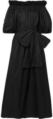 Stella McCartney Off-the-shoulder Belted Taffeta Maxi Dress - Black