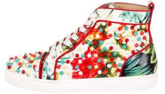 Christian Louboutin Floral Junior Spikes Sneakers