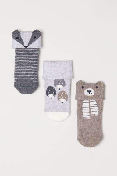 H&M - 3-pack Socks - Gray