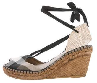 Burberry Canvas Wedge Sandals Brown Canvas Wedge Sandals