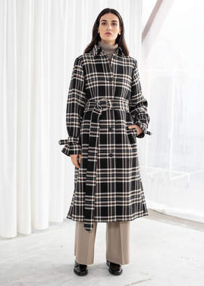 And other stories Belted Plaid Trench Coat