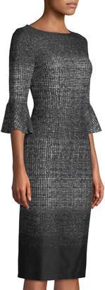 London Times Bell-Sleeve Knit Sheath Dress