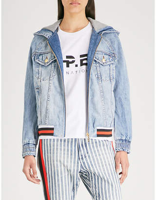 P.E Nation Faded denim hooded jacket