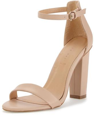 Shoe Box Daisy High Block Heeled Ankle Strap Sandals - Nude