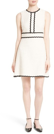 Women's Kate Spade New York Scallop Trim Tweed Fit & Flare Dress