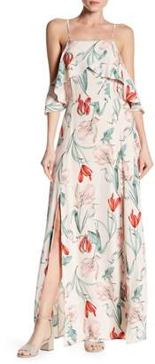Dress Forum Off-the-Shoulder Spaghetti Strapped Floral Maxi Dress