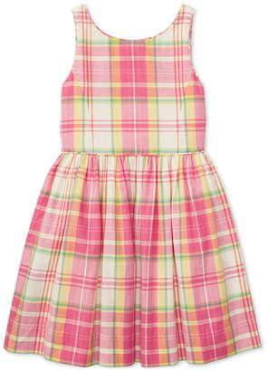 Polo Ralph Lauren Fit & Flare Cotton Madras Dress, Big Girls