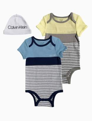 Calvin Klein baby boys 2-pack onesie + hat set