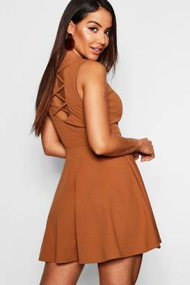 boohoo Zip Front Strappy Back Skater Dress