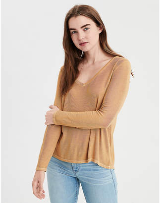 American Eagle AE Soft & Sexy Ribbed Long Sleeve V-Neck T-Shirt