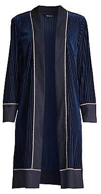 Misook Women's Ribbed Velvet Cardigan