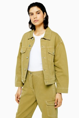 Topshop Khaki Denim Utility Jacket by Boutique