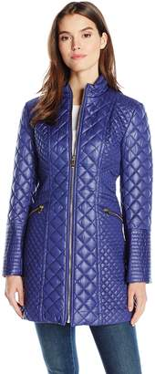 Via Spiga Women's Diamond Stitch Stand Collar Quilt