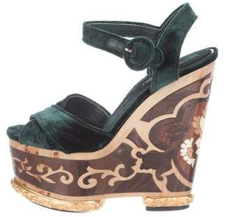 Dolce & Gabbana Velvet Platform Wedge Sandals