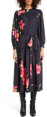 Marc Jacobs Floral Print Long Sleeve Midi Dress