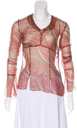 Adrienne Vittadini Paisley Print Long Sleeve Top
