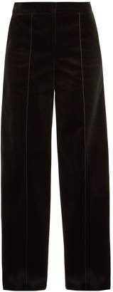 Amanda Wakeley High-rise wide-leg cotton-velvet trousers